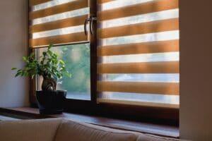 Morning light coming through window roller blinds