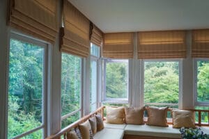 Living room with brown roman blinds